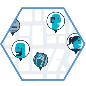 hexagon shaped graphic with a street map and people's heads in speech bubbles around the map