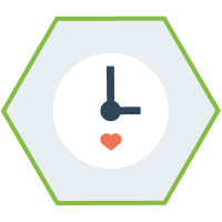 hexagon shaped graphic with a clock in the middle