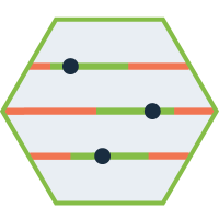 hexagon shaped graphic with a metric slider in the middle