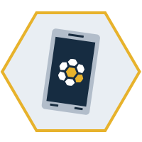 hexagon shaped graphic with a cellphone in the middle