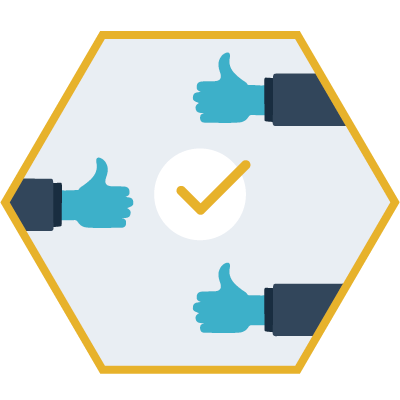 hexagon shaped graphic with three thumbs up and a check mark in the middle
