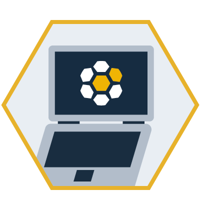 hexagon shaped graphic with a laptop in the middle